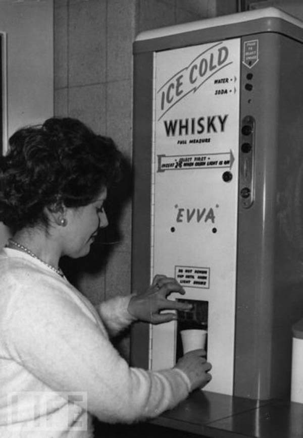 There used to be ice-cold whisky dispensers, sometimes found in offices (1950s).